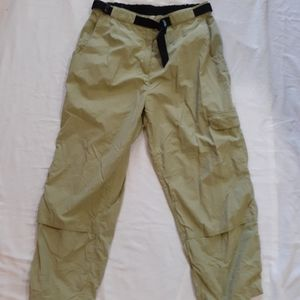 Olive green track pants with buckle belt